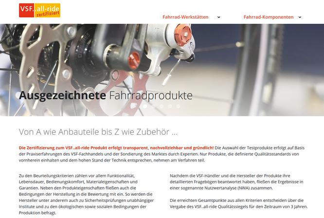 VSF 'all-ride' Qualitätssiegel mit neuer Website: zertifizierte Produkte und Werkstätten auf einen Blick