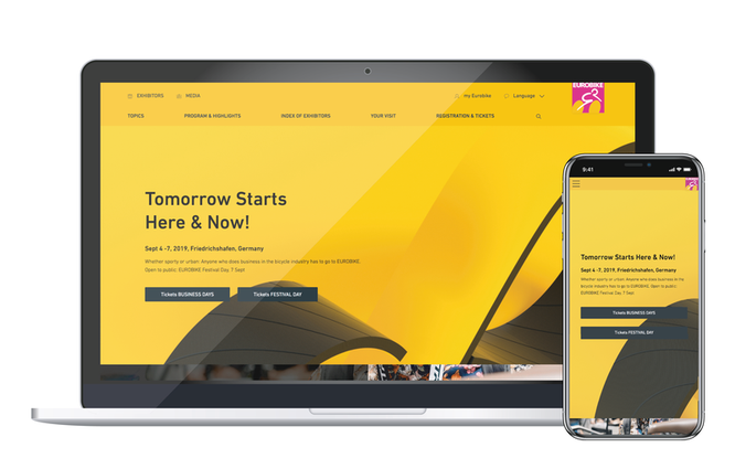 Tomorrow starts here and now: Relaunch der Eurobike-Website – intuitive Suchfunktion