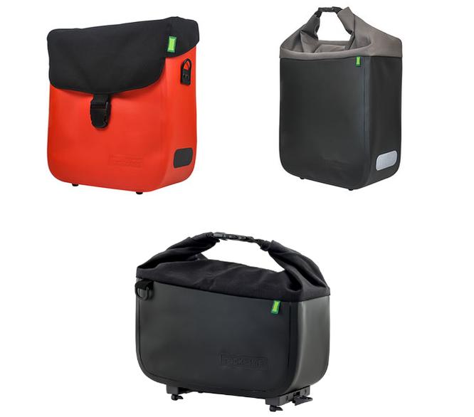 Deckeltasche Tommy (IP63) und Rollverschlusstasche Donna (IP65) werden in lavaorange, basaltgrau und onyxschwarz angeboten. Trunkbag Yves (IP65) bereichert den Markt ausschließlich in onyxschwarz.