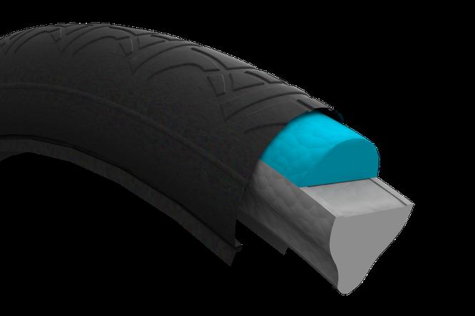 Reifeneinsätze von Air Fom bieten klare Vorteile: Sie sind leichtgewichtig und elastisch wie ein luftgefüllter Reifen, lassen sich schnell und fest auf handelsüblichen Felgen montieren, sind wartungsfrei und recyclingfähig. Bild: Air Form