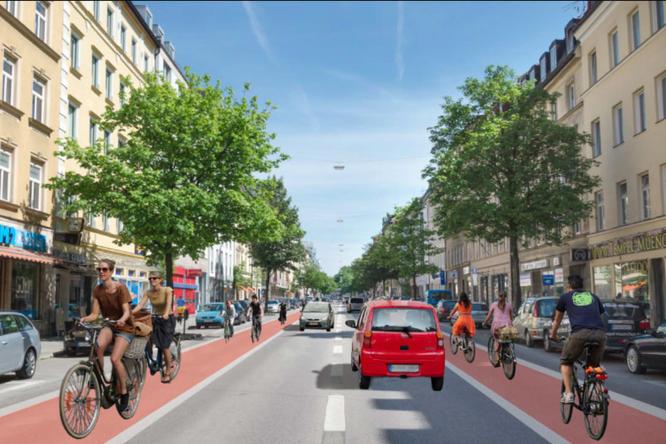 Green City e.V. forderte 2013 erstmals einen Radweg in der Rosenheimer Straße. ©Green City