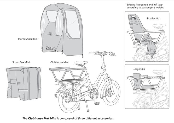 Rechts oben: Je nach Größe/Gewicht des Kindes ist ein Kindersitz oder Sitzpolster erforderlich. Unten: Das Clubhouse Fort Mini besteht aus drei Komponenten.