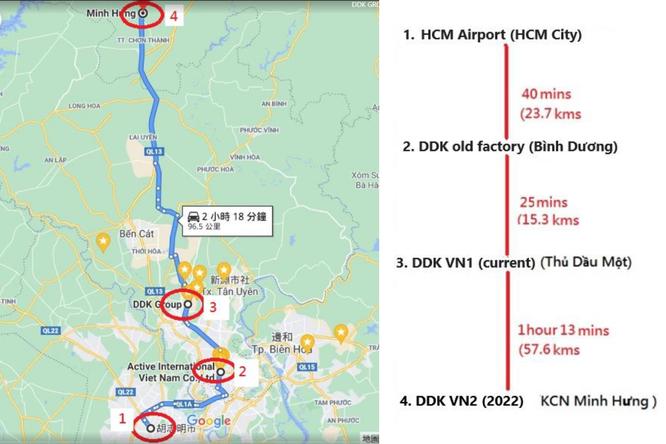 Skizze mit Standorten und Entfernungen der DDK in Vietnam © CF Industrievertretungen
