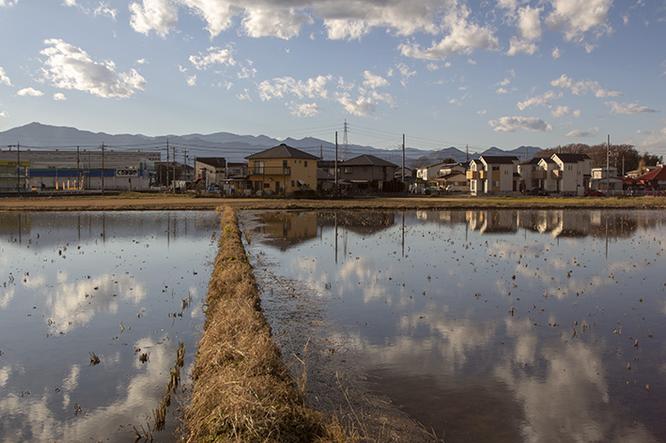 空と雲、そして大山から丹沢にかけての山々が水面に降りてきた。向こう側まで畔が通っていることで、何とかここが田んぼだとわかる。