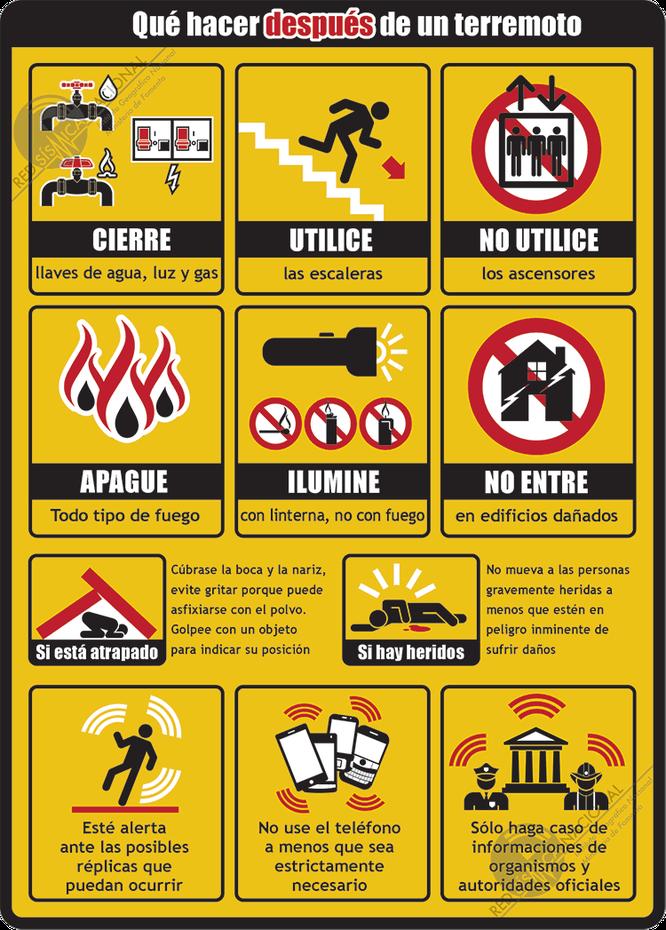 Recomendaciones después de un terremoto. Instituto Geográfico Nacional de España