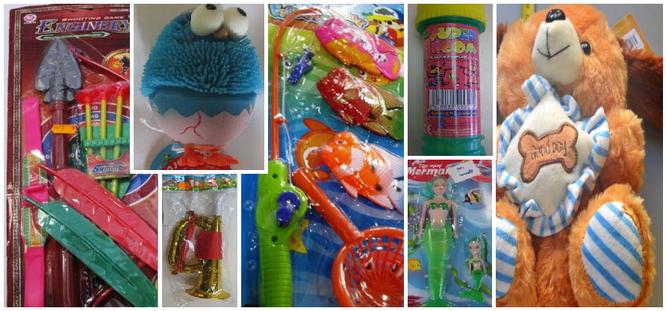 Algunos de los juguetes peligrosos encontrados por AECOSAN. Composición realizada por AprendEmergencias