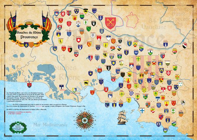 cartes historique des bouches du rhône -Provence-avec les blasons des communes