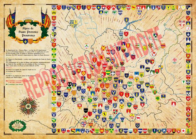 cartes historique  des alpes de haute Provence avec tracé des frontières et les blason des communes
