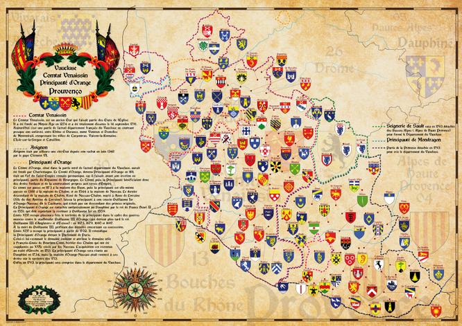 carte historique du vaucluse avec les blasons des communes et tracé des frontières du comtat venaissin, de la principauté d'Orange , du pays de Sault, et de la principauté de mondragon