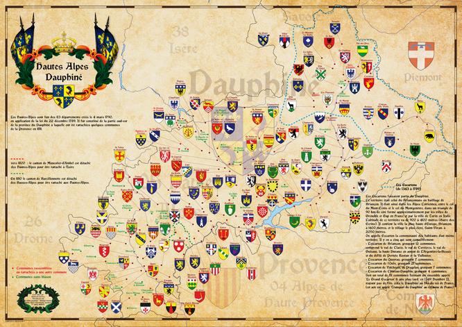 carte historique  des hautes Alpes - Dauphiné - tracé des frontières des escartons - et blasons des communes