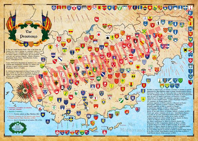 Carte historique du var-provence avec c'est frontières avant 1860  et les blasons des communes