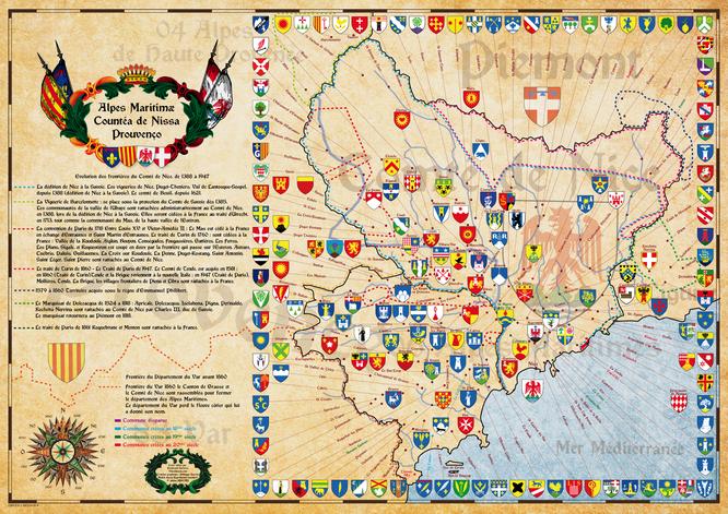 cartes historique des alpes Maritimes- et les frontières du comté de Nice de 1388 à 1860 avec les blasons blason des communes