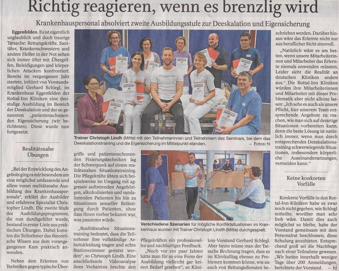 Selbstschutz Lindh Christopher Lindh GS Ausbildung für Rettungskräfte Pflegekräfte brandwacht bayerisches Staatsministerium des Inneren Niederbayern Rottal Inn Kliniken Schlegl  die Macht der Körpersprache Krankenhaus