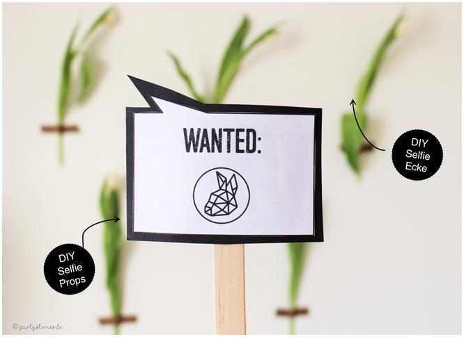 Bild: Selfie-Sticks oder Tischdeko mit vielen Sprüchen und einfach selbst gemacht, gefunden auf Partystories.de