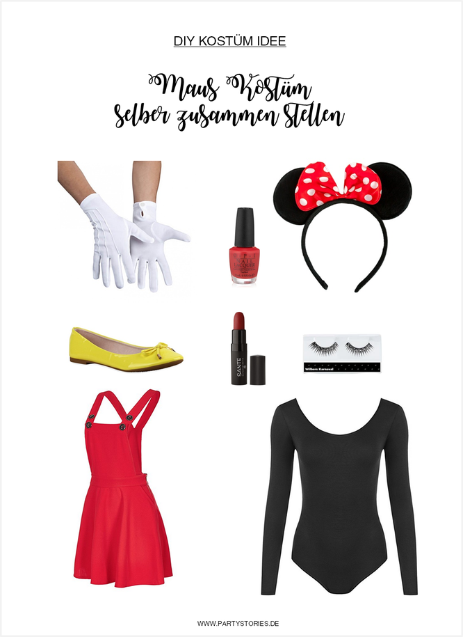 Bild: DIY Kostüm Idee für Karneval, Fasching oder als Mottoparty - Kostüm im Stil von Micky Maus und Minnie Maus selber machen; gefunden auf www.partystories.de