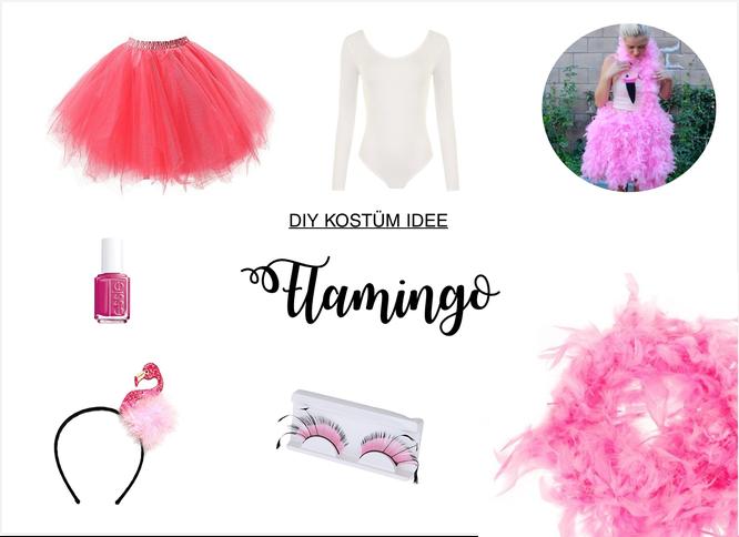 Bild: DIY Kostüm Idee für Karneval, Fasching oder eine Mottoparty selber machen; Ideen für ein Flamingo Kostüm in pink; gefunden auf www.partystories.de
