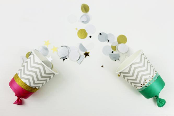Bild: DIY Konfettikanonen aus Pappbechern - ganz einfach selbst gemacht, perfekt für die Hochzeit, Silvester oder als Konfetti Popper, gefunden auf Partystories.de