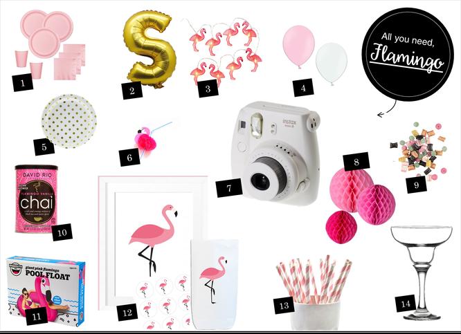 Bild: Ideen für eine Flamingoparty und Shop-the-Look Lieblinge, gefunden auf Partystories.de