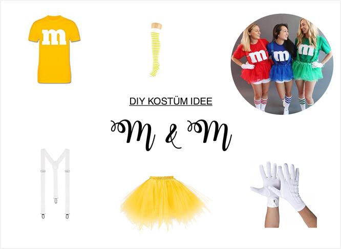 Bild: DIY Kostüm Idee für Karneval, Fasching oder eine Mottoparty selber machen; Ideen für ein buntes Kostüm im Stil von M&M; gefunden auf www.partystories.de