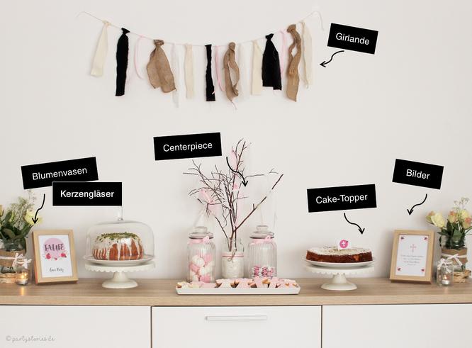 Bild: Deko zur Taufe, Candy-Bar und Sweet Table, gefunden auf Partystories.de