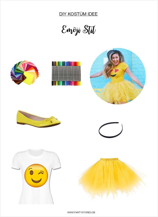 Bild: DIY Kostüm Idee für Karneval, Fasching oder eine Mottoparty selber machen; als Emoji Icon im Social Media Stil; gefunden auf www.partystories.de