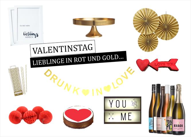 Bild: Geschenkideen und Dekoideen zum Valentinstag in rot und gold, gefunden auf Partystories.de