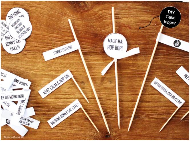 Bild: Ideen für DIY Osterdeko, DIY Caketopper für Ostern, Freebie zum nachmachen inklusive, gefunden auf Partystories.de