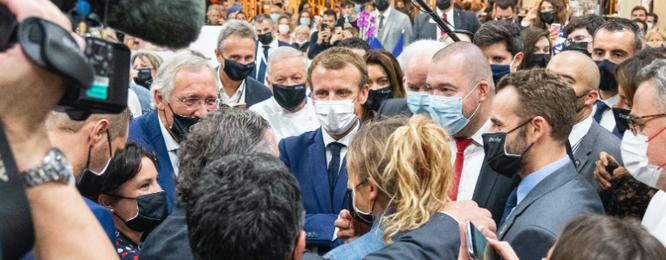 Le Président de la République Emmanuel Macron au SIRHA 2021 à Lyon
