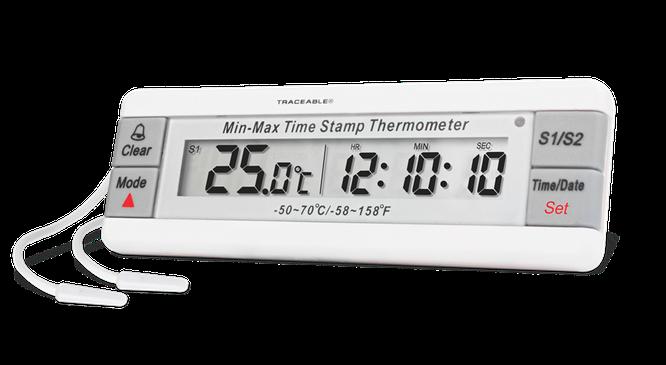 Termómetro digital con sonda plástica externa y certificado trazable a NIST 4307