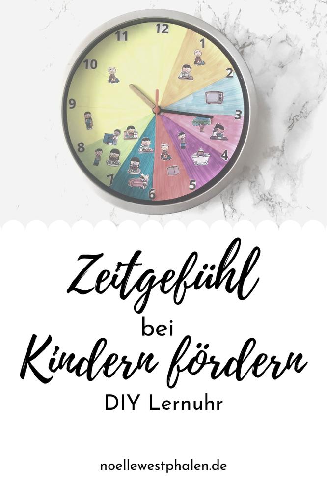 Uhr Material Schere Zeiger Lineal basteln DIY Lernuhr Selbermachen selber machen Zahlen