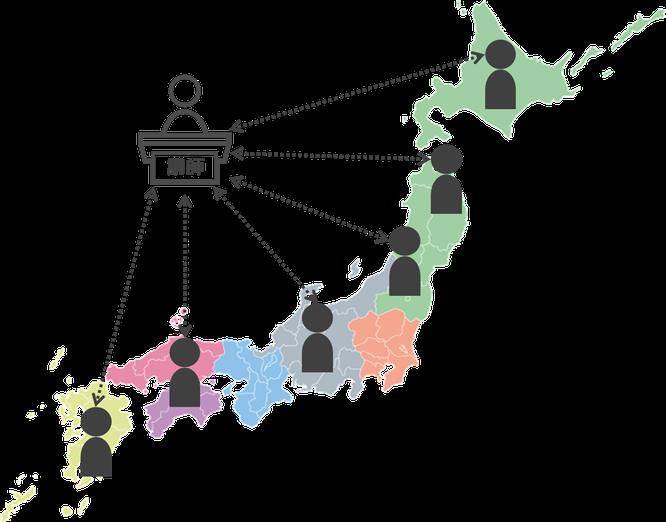 オンライン研修で全国どこからでも受講可能のイメージ図