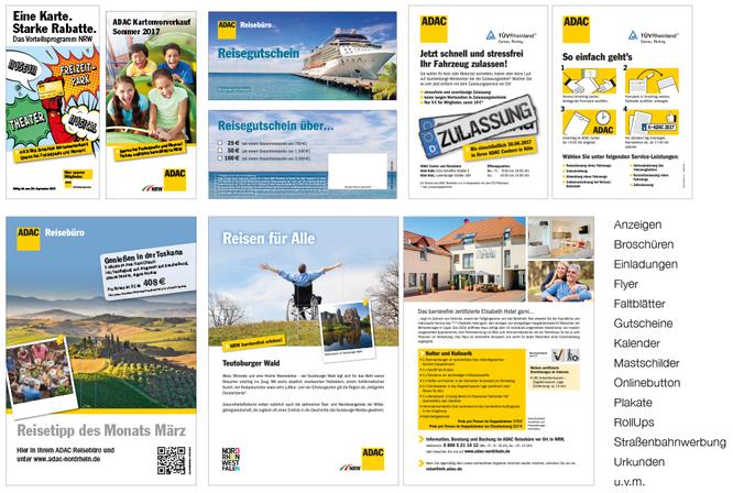 ADAC Nordrhein e.V. Belege, A4 Flyer, DIN lang Broschüren + Flyer