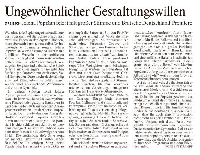 Frankfurter Allgemeine Zeitung, Norbert Krampf, 23.11.2020 Print