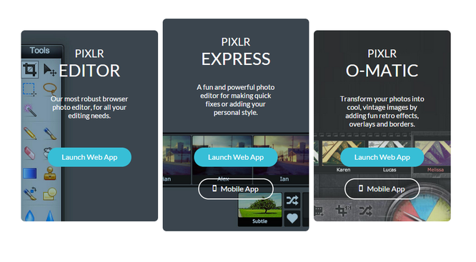 Copia de pantalla de Pixlr con las tres variantes.