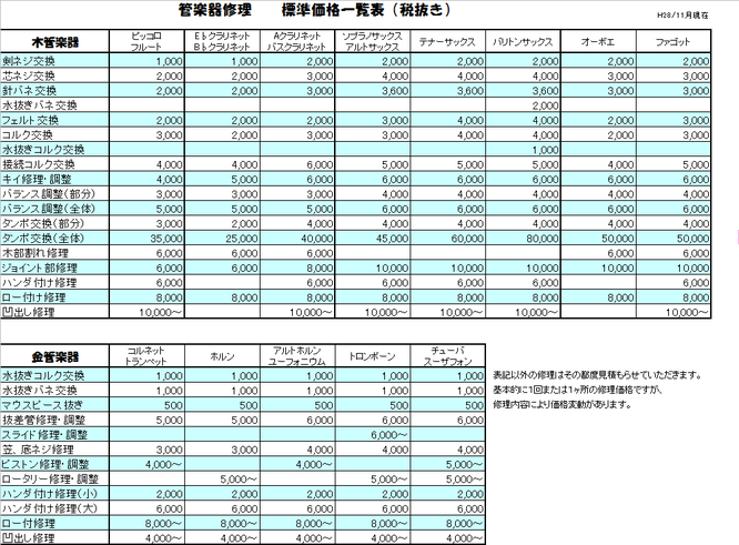 管楽器修理価格表
