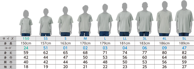 お得な個人ネームパックのTシャツ00327のサイズ表