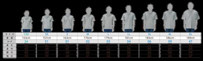 お得な個人ネームパックのポロシャツ00302のサイズ見本