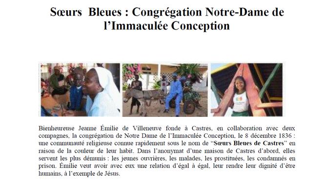 Article du journal du diocèse d'Albi - Tarn à l'occasion de la canonisation de Jeanne Emilie de Villneuve
