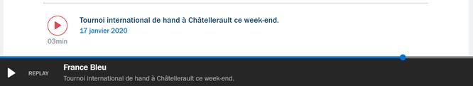 """Podcast à écouter sur le site de France Bleu, rubrique """"2 minutes chrono de Bleu Poitou"""""""