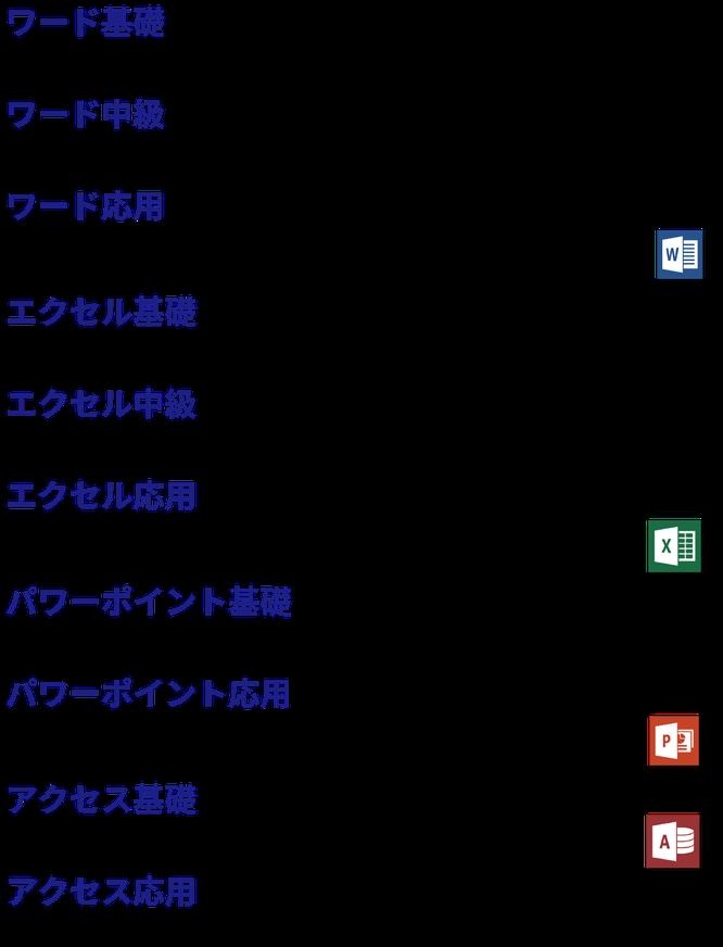 ワード基礎・ワード中級・ワード応用 エクセル基礎・エクセル中級・エクセル応用 パワーポイント基礎・パワーポイント応用 アクセス基礎・アクセス応用