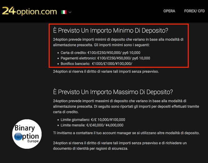 24option minimo deposito 100 euro dollari