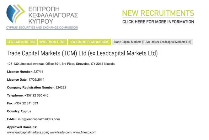 leadcapital Markets ltd trade.com autorizzazione licenza cysec