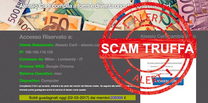 metodo tradex email truffa