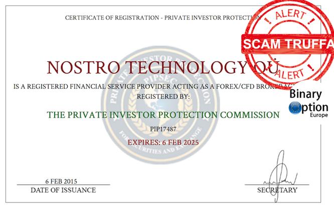 10brokers licenza PIPSEC non valida truffa