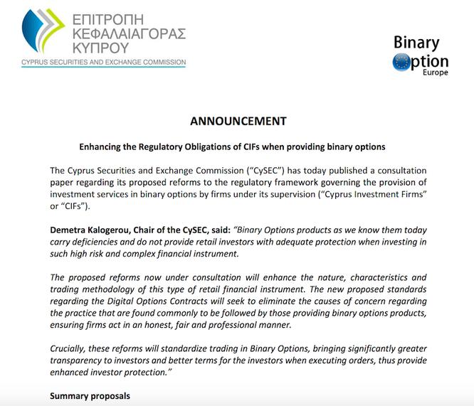 cysec proposta modifica regole mercato opzioni binarie