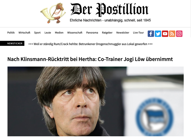 Bereits geänderte Domain: www.der-postillion.com (früher: www.der-postillon.com)