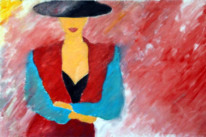 """""""FASHION REDBLUE"""" - VIRGINIA VICI - ACRYL UND ÖL AUF LEINWAND - 150 x 100 cm"""
