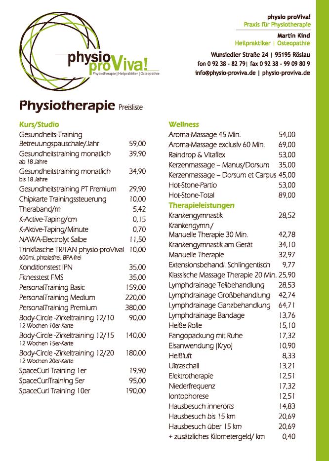 Preisliste 2017 physio-proViva!