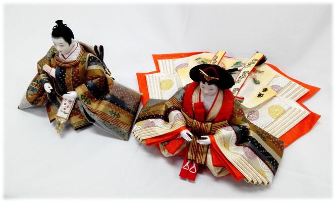 優香作ひな人形 親王 天平段文錦(龍村美術織物)