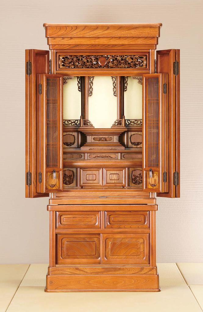 欅仏壇「ゆたか 2型 彫」45-18 明色 畳に直置き